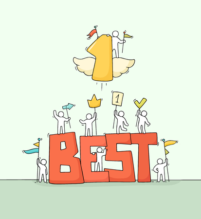 Schizzo di piccole persone che lavorano con la parola grossa Best e il numero uno volante. Doodle carino scena in miniatura di lavoratori che tengono i segni. Illustrazione di vettore del fumetto disegnato a mano per il disegno di affari.