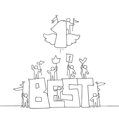 Sketch of working little people with big word Best and flying number one. Doodle cute miniature scene of workers holding signs. Hand drawn cartoon vector illustration for business design.