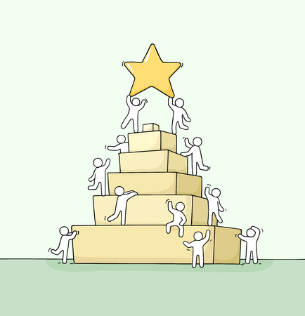 Sketch of working little people with pyramid. Doodle cute miniature scene of workers about leadership. Hand drawn cartoon vector illustration for business design and infographic.