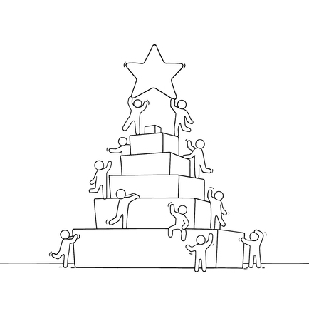 Sketch of working little people with pyramid. Doodle cute miniature scene of workers about leadership. Hand drawn cartoon vector illustration for business design and infographic. Vector Illustration