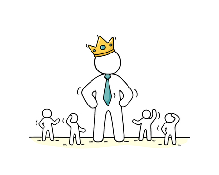Sketch of working little people and big boss in crown. Doodle cute concept about teamwork with leader. Hand drawn cartoon vector illustration for business design.