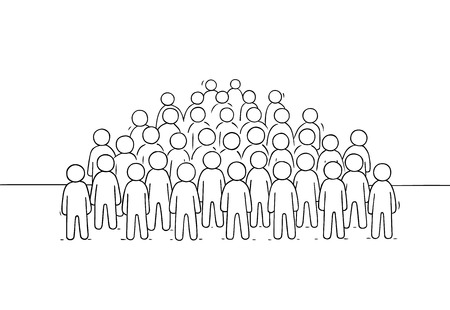 Sketch of many people standing together. Doodle cute miniature scene of big crowd. Hand drawn cartoon vector illustration for business and social design. Stock Illustratie