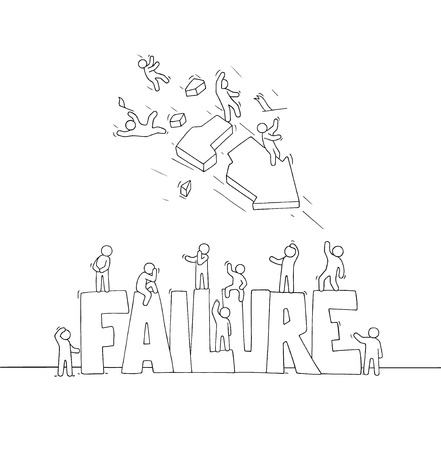 Sketch of working little people with big word Failure and crashing arrow. Doodle cute miniature scene of sad workers. Hand drawn cartoon vector illustration for business design. Иллюстрация