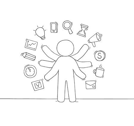 Empresario de dibujos animados con muchas manos. Doodle linda escena sobre multitarea y carga de trabajo. Dibujado a mano ilustración vectorial para el diseño de negocios.