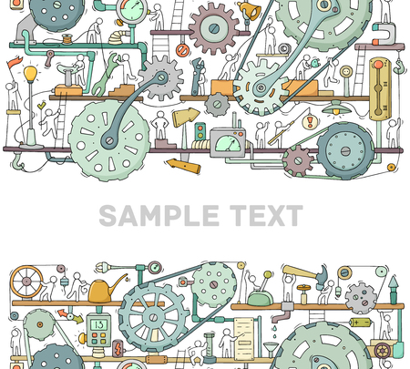 Machinery template with space for text. Doodle cartoon mechanism with people and cogwheels. Hand drawn vector illustration for business and industry design isolated on white.