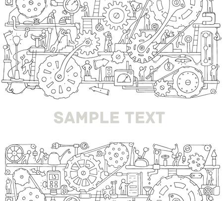 Maschinenvorlage mit Platz für Text. Doodle-Cartoon-Mechanismus mit Menschen und Zahnrädern. Hand gezeichnete Vektorillustration für Geschäfts- und Industriedesign lokalisiert auf Weiß.