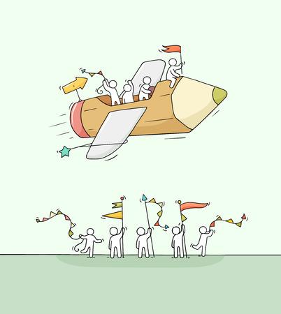 Schizzo di piccole persone che lavorano con una matita volante. Doodle carino scena in miniatura di lavoratori creativi. Illustrazione di vettore del fumetto disegnato a mano per progettazione aziendale e infografica.