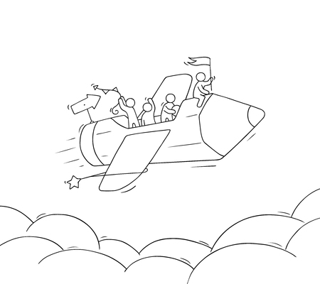 Sketch of working little people with flying pencil. Doodle cute miniature scene of creative workers. Hand drawn cartoon vector illustration for business and education design. Иллюстрация