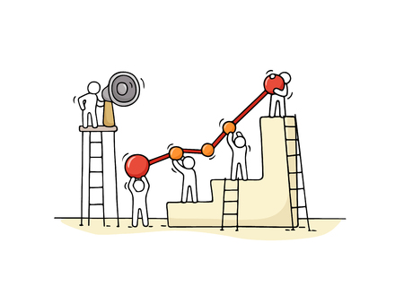 Sketch of diagram with working little people. Doodle cute miniature teamwork. Hand drawn cartoon vector illustration for business design and infographic.