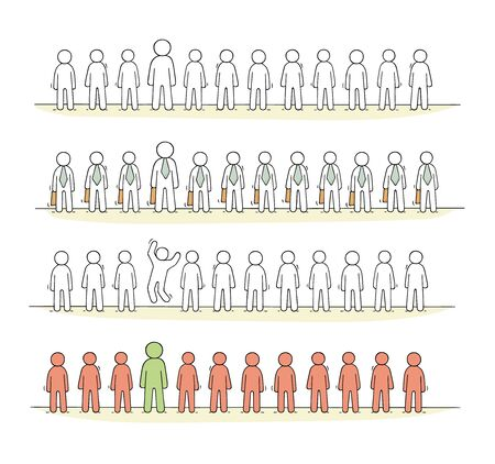 Cartoon working  little people stand in a row. Ilustrace