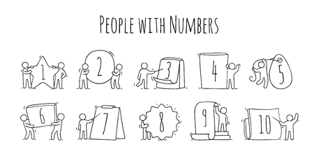 Cartoon icons set of sketch little people with numbers. Doodle cute workers with signs in different forms. Hand drawn vector illustration for education. Illustration