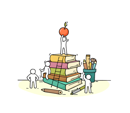 Sketch of stationery with working little people. Doodle cute miniature of stack of books. Hand drawn cartoon vector illustration for business and education design.