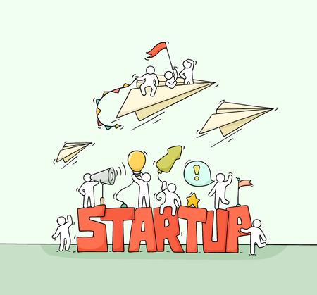 Boceto de gente trabajadora con avión de papel mosca, palabra Startup. Doodle linda escena en miniatura de los trabajadores. Dibujado a mano ilustración vectorial de dibujos animados para el diseño de negocios e infografía.