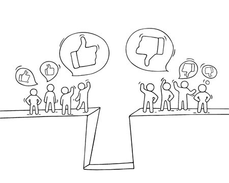 Sketch of little people with like and dislike signs. Doodle cute miniature scene of workers. Hand drawn cartoon vector illustration for business and web design. Banque d'images - 126930885