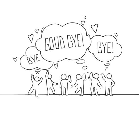 Crowd of working little people with speech bubbles. Doodle cute miniature about communication. Hand drawn cartoon vector illustration for web and social design. Illustration