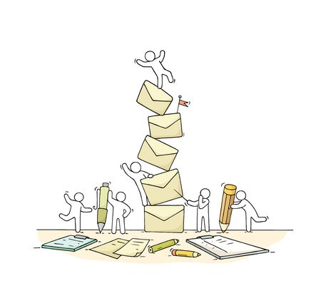 Sketch of working little people with many letters. Doodle cute miniature scene of workers about paperwork. Hand drawn cartoon vector illustration.