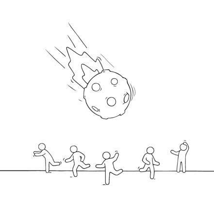Little people run from falling meteorite. Doodle cute miniature scene of workers about space danger. Hand drawn cartoon vector illustration.
