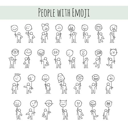 Cartoon icons set of sketch little people with smiles. Doodle cute workers with emoji signs. Hand drawn vector illustration for communication design.