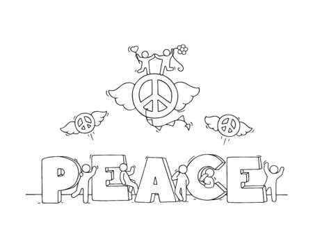 Little people with word Peace. Hand drawn cartoon vector illustration for positive design. Foto de archivo - 137888829