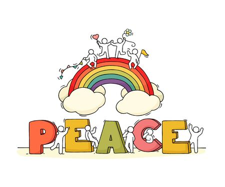 Little people with word Peace and rainbow. Hand drawn cartoon vector illustration for positive design.