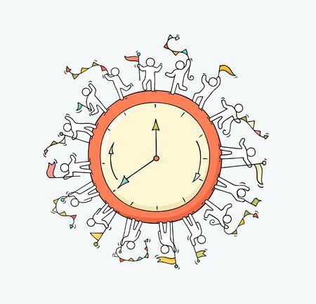 Croquis d'une grande horloge avec de petites personnes qui travaillent. Doodle scène miniature mignonne sur le temps. Illustration vectorielle de dessin animé dessinés à la main pour la conception des affaires et de l'éducation.