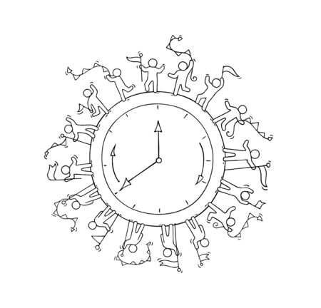 Sketch of big clock with working little people. Doodle cute miniature scene about Time. Hand drawn cartoon vector illustration for business and education design. Vecteurs