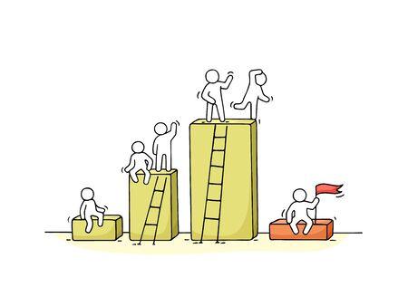Schema di cartone animato con piccole persone che lavorano. Doodle carino lavoro di squadra in miniatura. Illustrazione disegnata a mano di vettore per progettazione e infographic di affari.