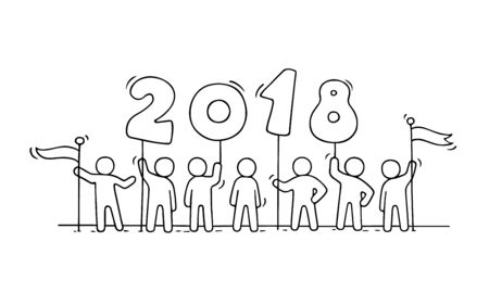 2018 Happy New Year background. Cartoon doodle illustration with liitle people prepare to celebration. Hand drawn vector illustration.