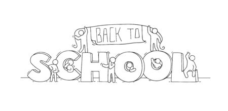 Sketch of little people with text Back to School. Doodle cute miniature scene about end of education. Hand drawn cartoon vector illustration. 일러스트