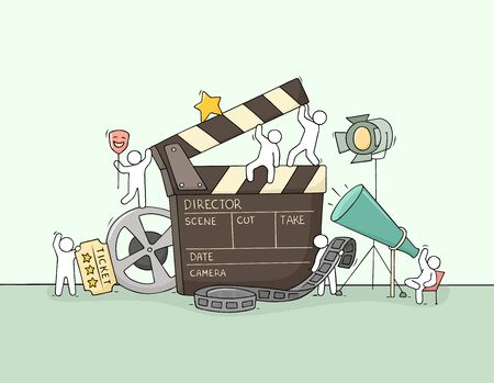 Sketch of little people with cinema symbols. Doodle cute miniature scene about movie making. Hand drawn cartoon vector illustration.