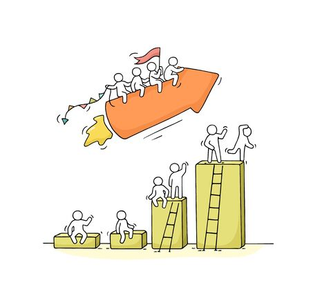 Sketch of working little people with arrow, diagram. Doodle cute miniature scene of workers. Hand drawn cartoon vector illustration for business design and infographic. 일러스트