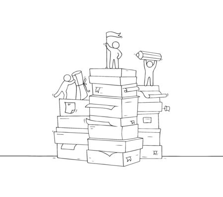 Sketch of working little people with paper stack. Doodle cute miniature scene about paperwork. Hand drawn cartoon vector illustration for business and education design .