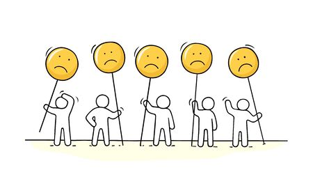 Crowd of working little people with sad sings. Doodle cute miniature about communication. Hand drawn cartoon vector illustration for chat and web design. 向量圖像