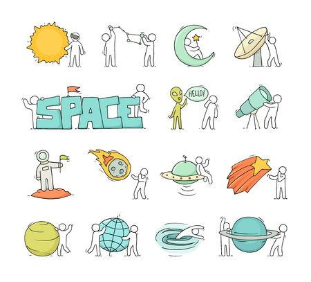 Cartoon icons set of sketch little people with space objects. Doodle cute workers with cosmic elements. Hand drawn vector illustration for astronomy design.