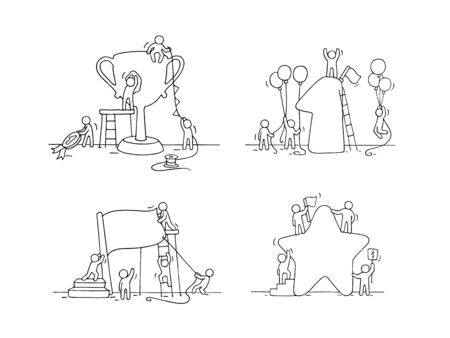Sketch of working little people with victory symbols. Doodle cute miniature scene of workers preparing for the celebration. Hand drawn cartoon vector illustration for business design.