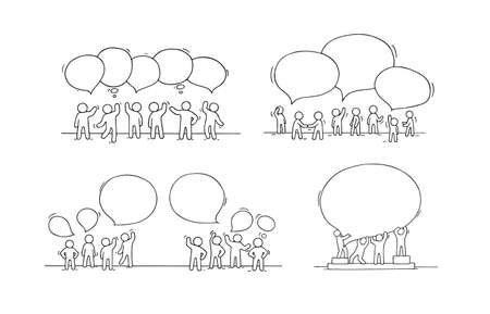 Crowd of working little people with speech bubbles. Doodle cute miniature scenes with empty messages. Hand drawn cartoon vector set for social design.