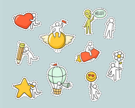 Cartoon set of patch badges, pins with little people. Hand drawn vector stickers with alien, arrow, star, flower, pencil.