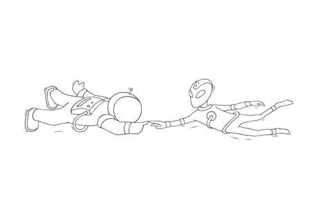Sketch of astronaut and alien. Doodle cute scene about first contact. Hand drawn cartoon vector illustration for science design.