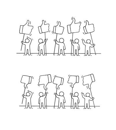 Sketch of working little people with like and dislike signs. Doodle cute miniature scene of workers. Hand drawn cartoon vector illustration for business and web design.