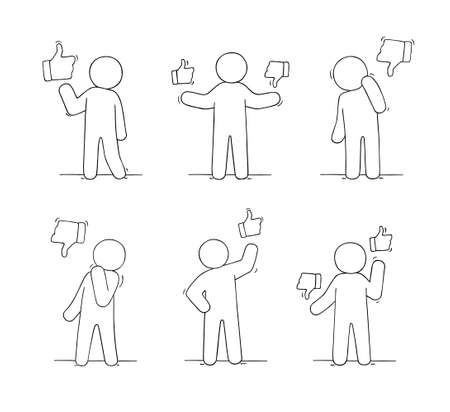 Sketch of people with like and dislike signs. Doodle cute miniature scene with communication symbols. Hand drawn cartoon vector illustration for business and web design.