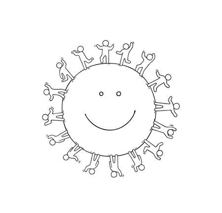 Cartoon happy little people standing around the smile. Doodle cute miniature scene of workers about unity. Hand drawn cartoon vector illustration. Ilustrace