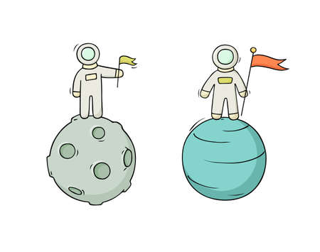 Sketch set of astronauts with flag. Doodle cute scene about space reseach. Hand drawn cartoon vector illustration for science design.