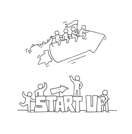 Sketch of working little people with fly arrow, word Startup. Doodle cute miniature scene of workers. Hand drawn cartoon vector illustration for business design and infographic.