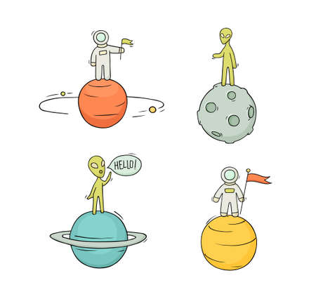 Sketch set of astronauts, aliens on planets. Doodle cute scene about space reseach. Hand drawn cartoon vector illustration for science design. Ilustrace