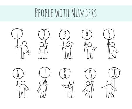 Cartoon icons set of sketch little people with numbers. Doodle cute workers with circle signs. Hand drawn vector illustration for education. Ilustrace