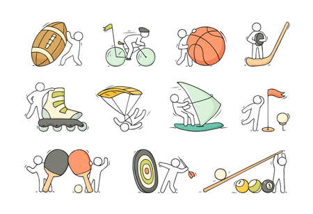 Cartoon set of sketch little people with sport equipment. Doodle cute illustration about healthy lifestyle. Ilustrace