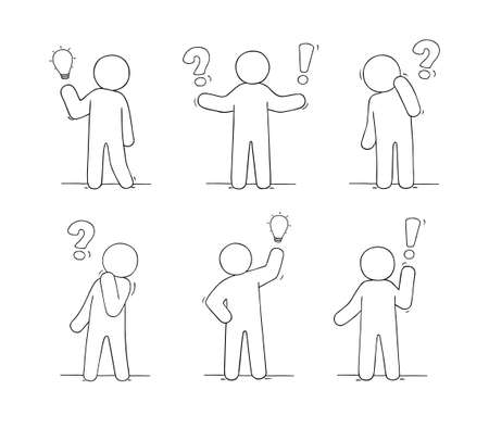 Cartoon working little people with communication signs. Doodle cute miniature scene about communication. Hand drawn vector illustration for business and social design. Ilustrace