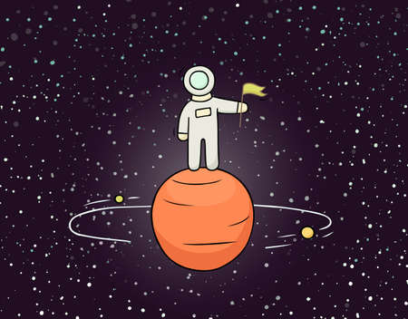 Sketch astronaut with flag. Doodle cute scene about space reseach. Hand drawn cartoon vector illustration for science design.