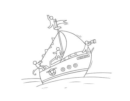 Sketch of little people fly on yacht. Doodle cute miniature scene about transportation. Hand drawn cartoon vector illustration for vacation design.