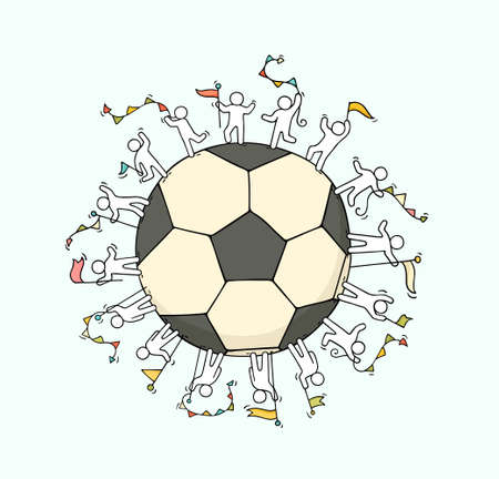 Cartoon happy little people standing around the ball. Doodle cute miniature scene about soccer. Hand drawn cartoon vector illustration.